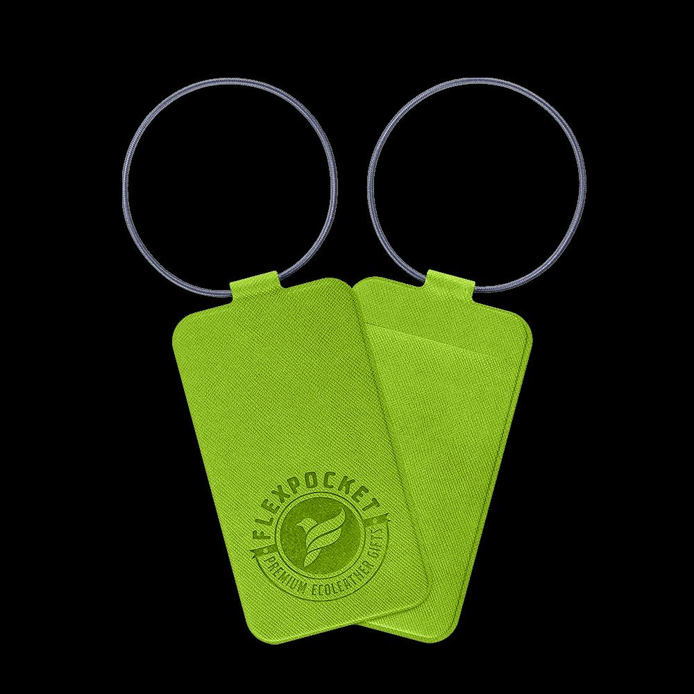 Багажная бирка на резинке, цвет зеленый