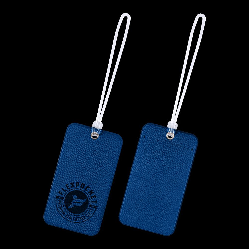 Багажная бирка на виниловой петле, цвет темно-синий