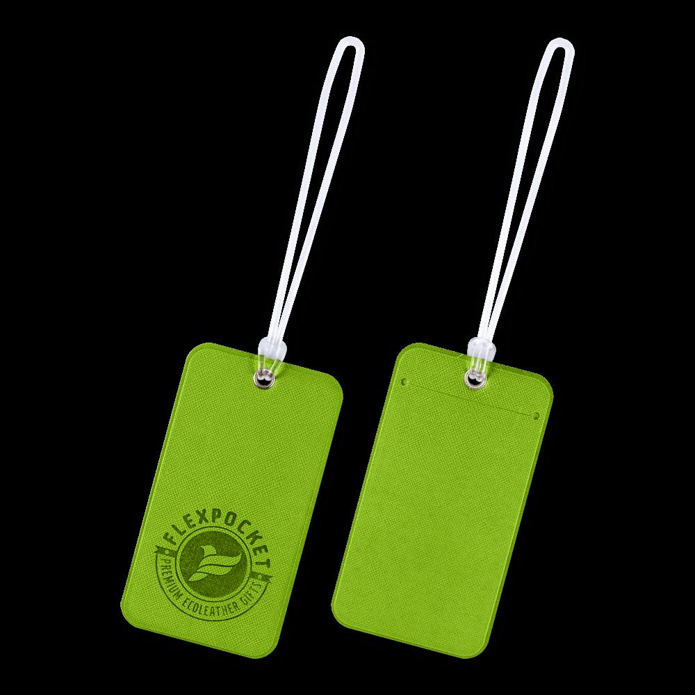 Багажная бирка на виниловой петле, цвет зеленый