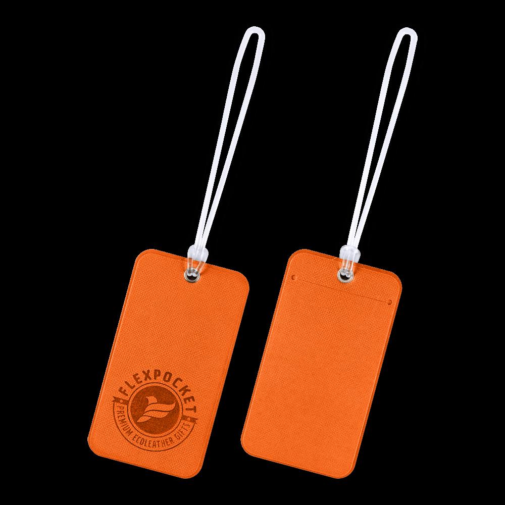 Багажная бирка на виниловой петле, цвет оранжевый