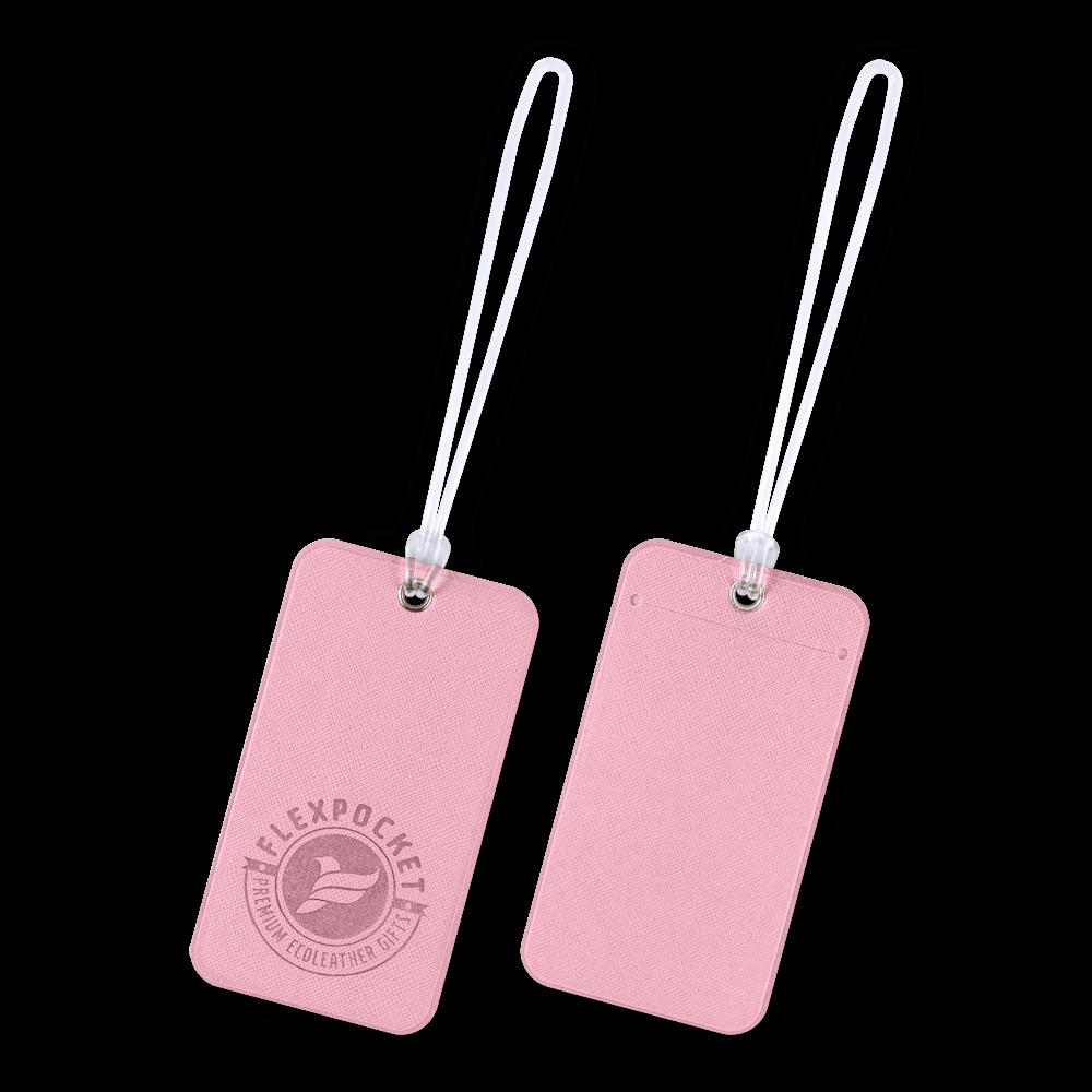 Багажная бирка на виниловой петле, цвет розовый