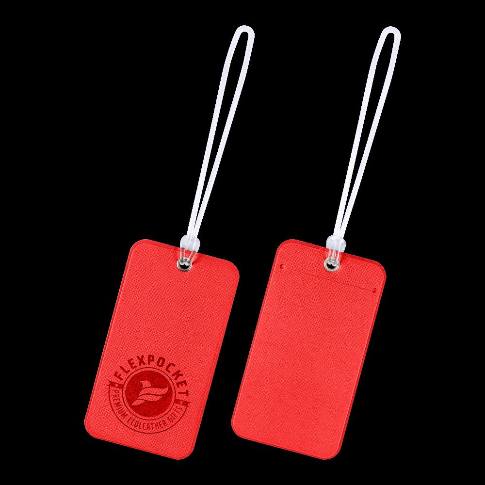 Багажная бирка на виниловой петле, цвет красный