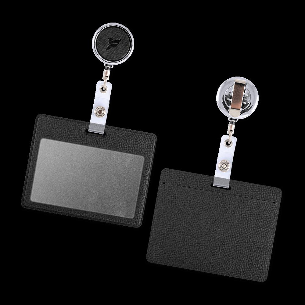Карман с металлическим ретрактором - горизонтальный, цвет черный