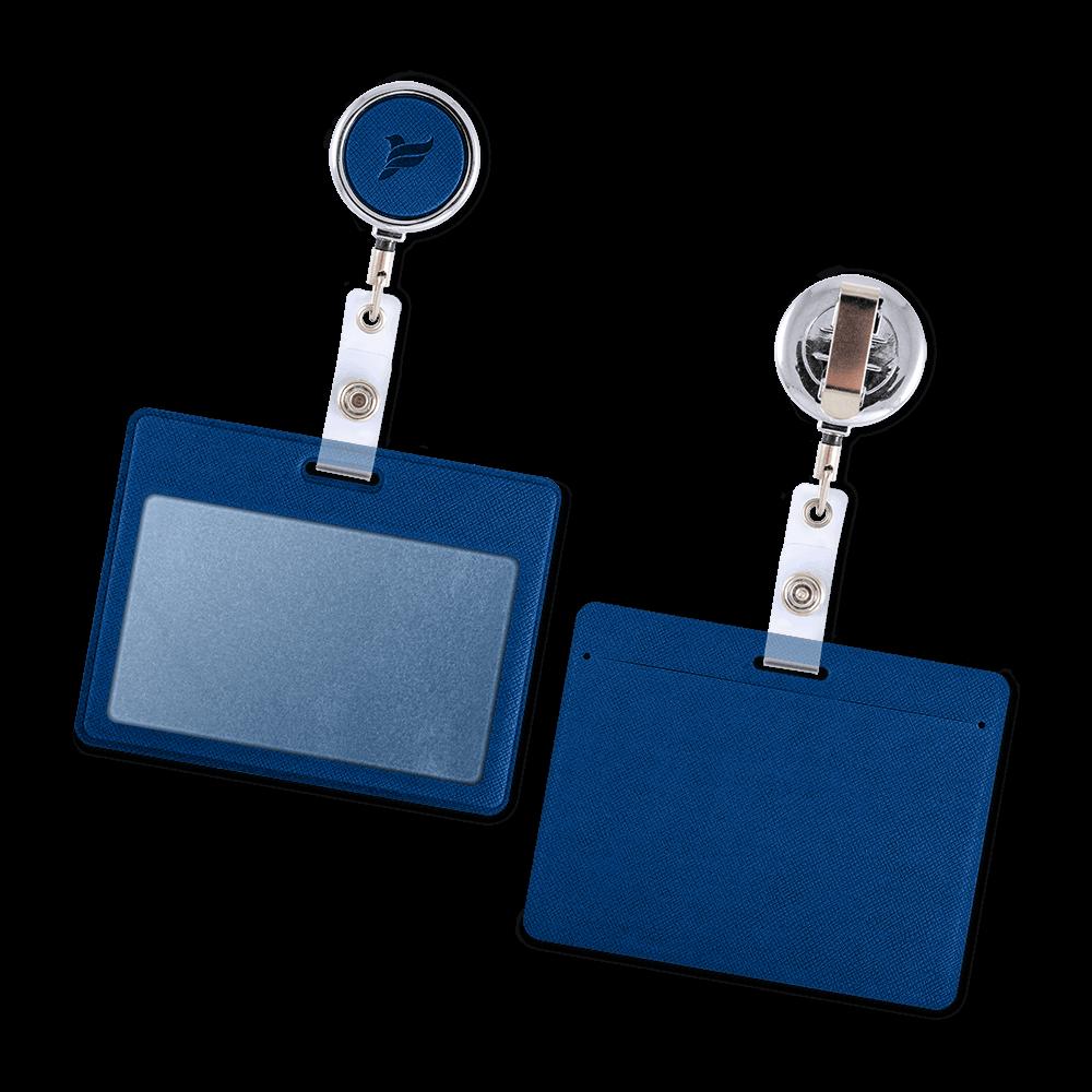 Карман с металлическим ретрактором - горизонтальный, цвет темно-синий