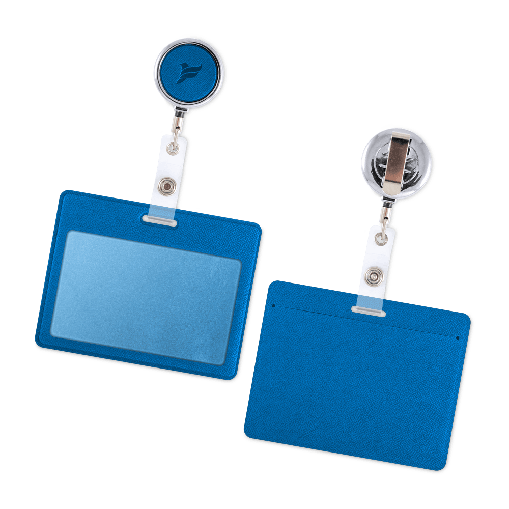 Карман с металлическим ретрактором - горизонтальный, цвет синий