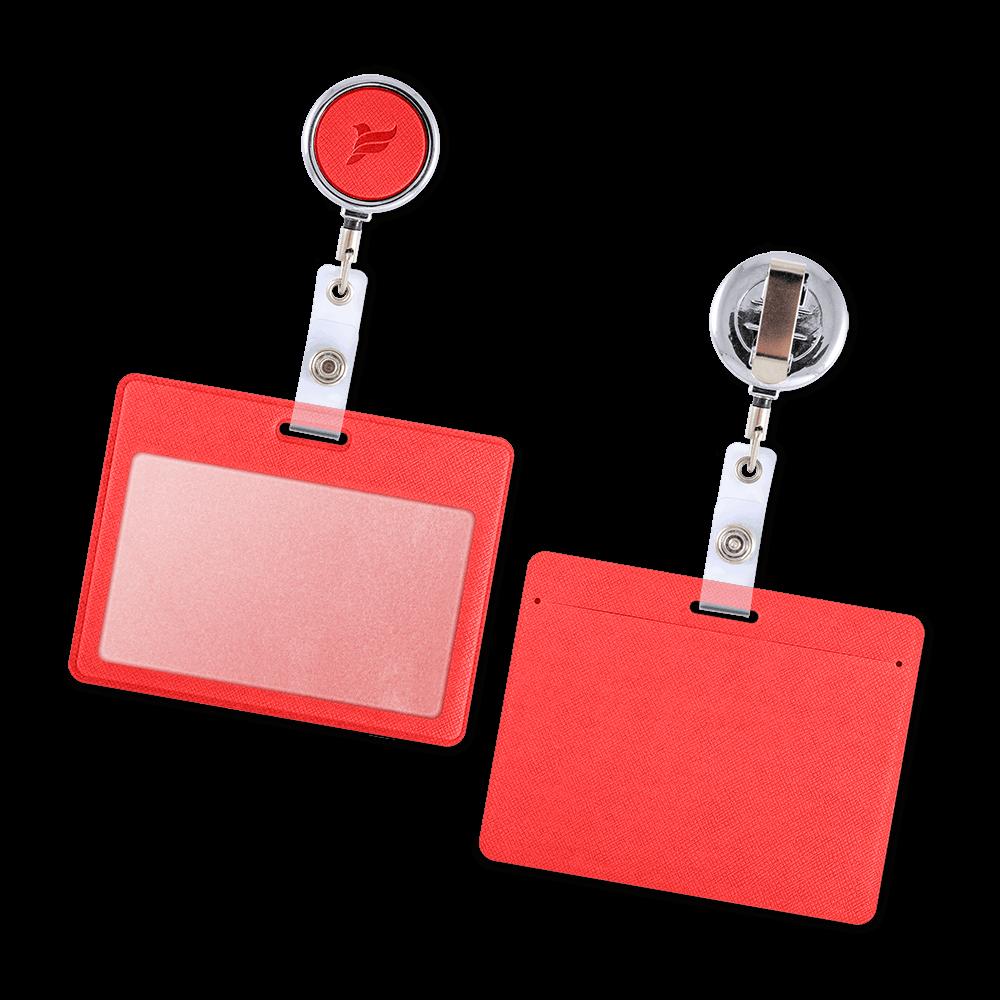Карман с металлическим ретрактором - горизонтальный, цвет красный