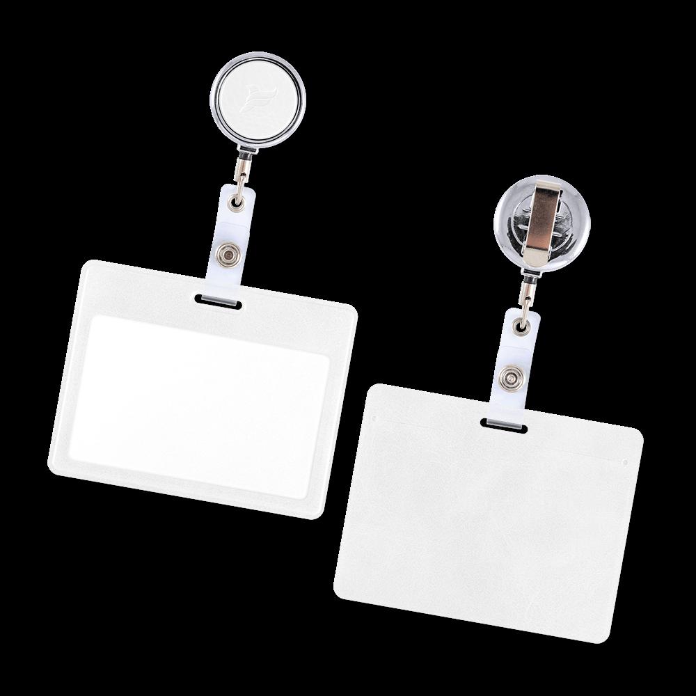 Карман с металлическим ретрактором - горизонтальный, цвет белый Classic