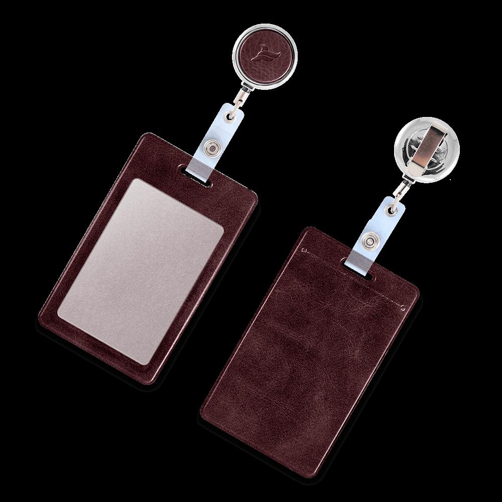 Карман с металлическим ретрактором - вертикальный, цвет коричневый Classic