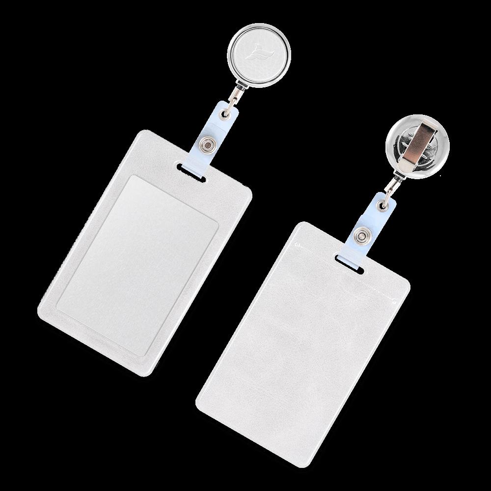 Карман с металлическим ретрактором - вертикальный, цвет белый Classic