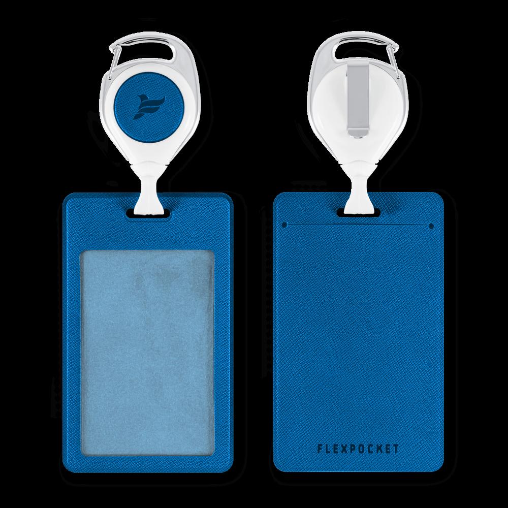 Карман с ретрактором универсальным, цвет синий