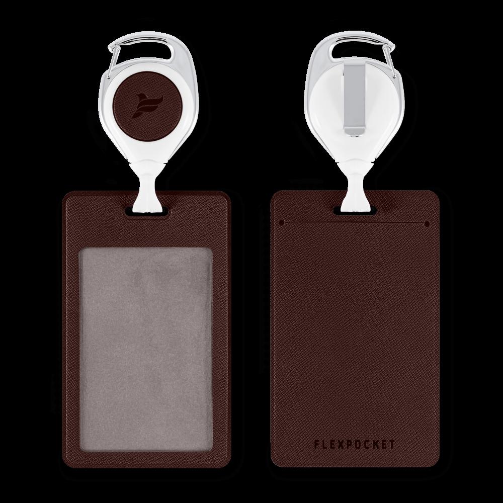 Карман с ретрактором универсальным, цвет коричневый