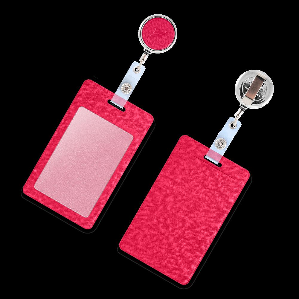 Карман с металлическим ретрактором - вертикальный, цвет маджента
