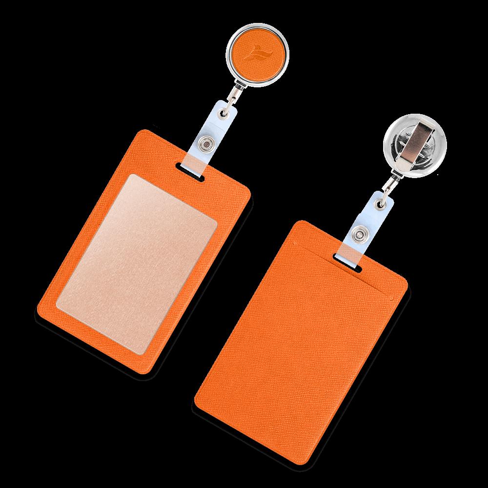 Карман с металлическим ретрактором - вертикальный, цвет оранжевый