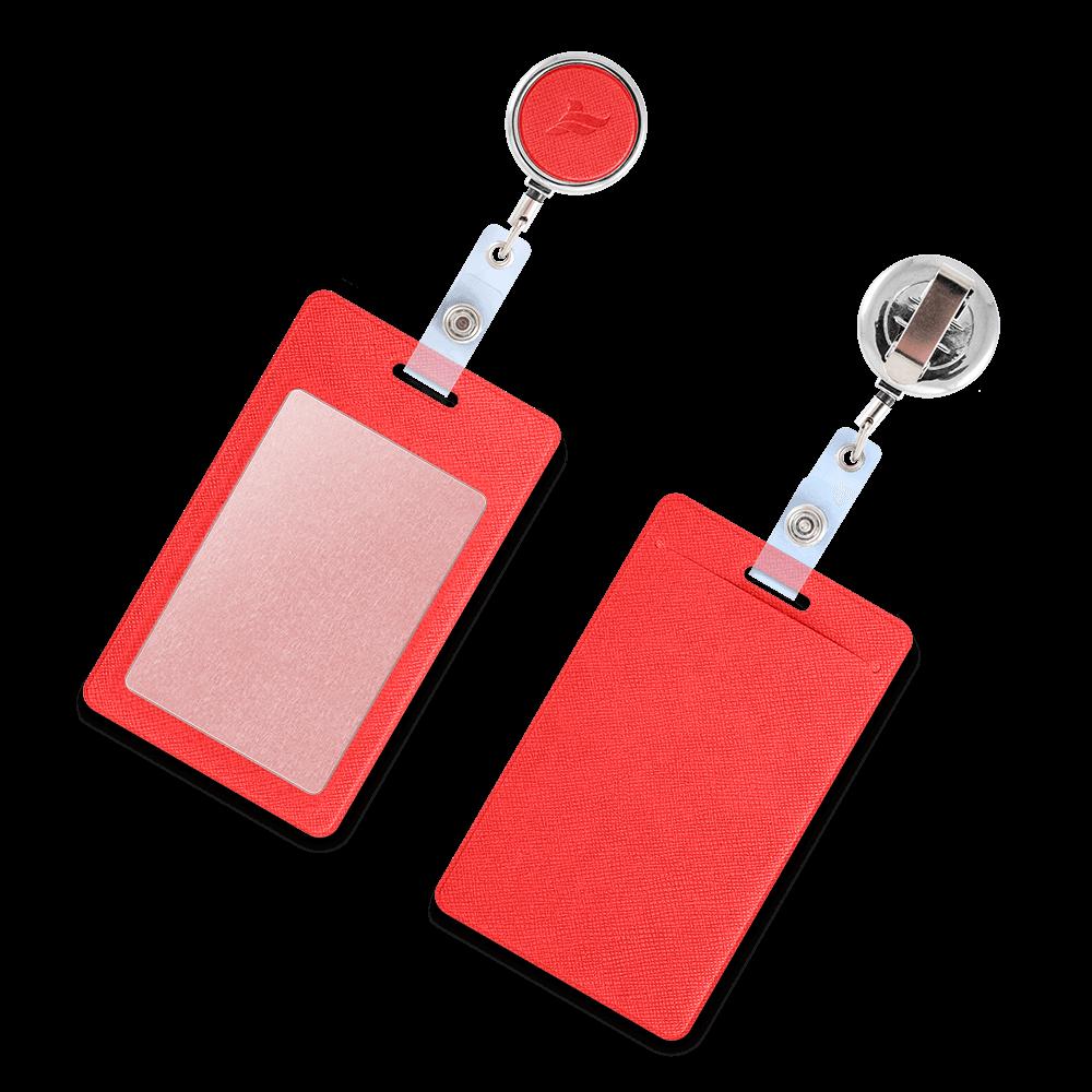 Карман с металлическим ретрактором - вертикальный, цвет красный