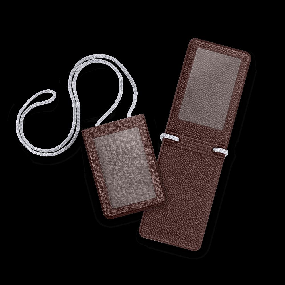Карман с магнитным замком - вертикальный, цвет коричневый