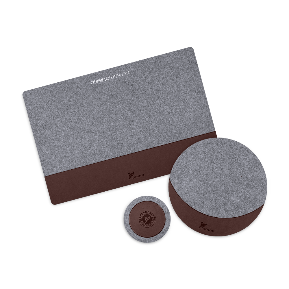Настольный набор из фетра, цвет коричневый