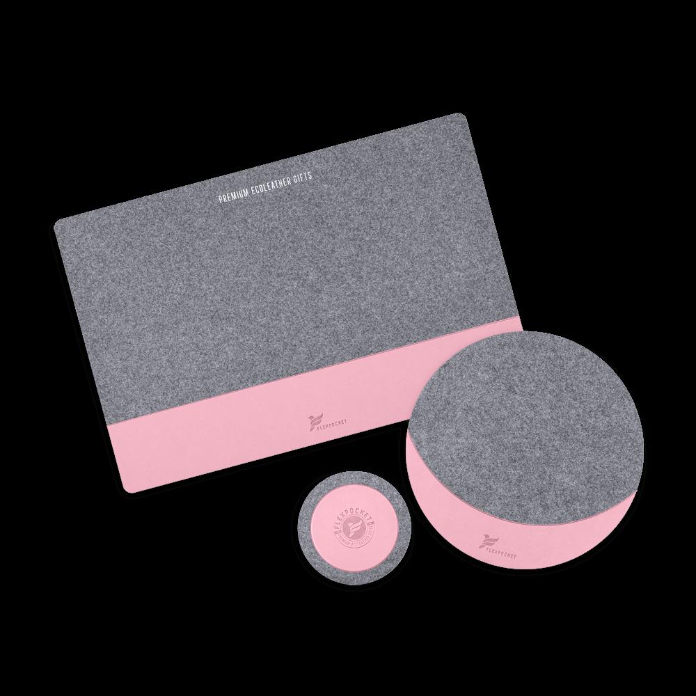 Настольный набор из фетра, цвет розовый