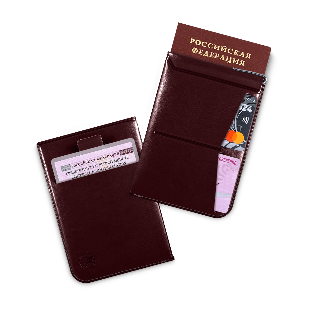 Обложка для паспорта - универсальная, цвет коричневый classic