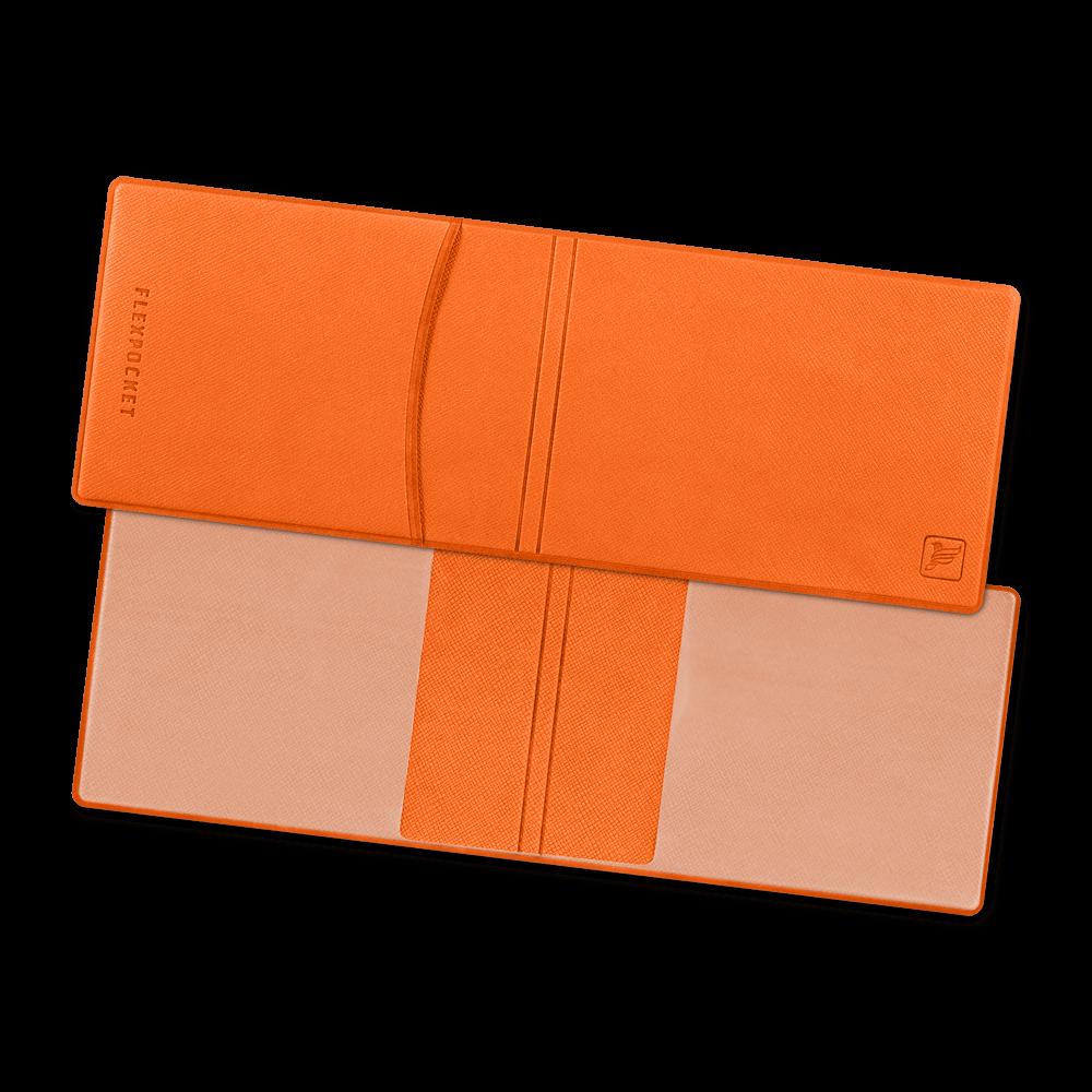 Обложка для удостоверения с карманом, цвет оранжевый