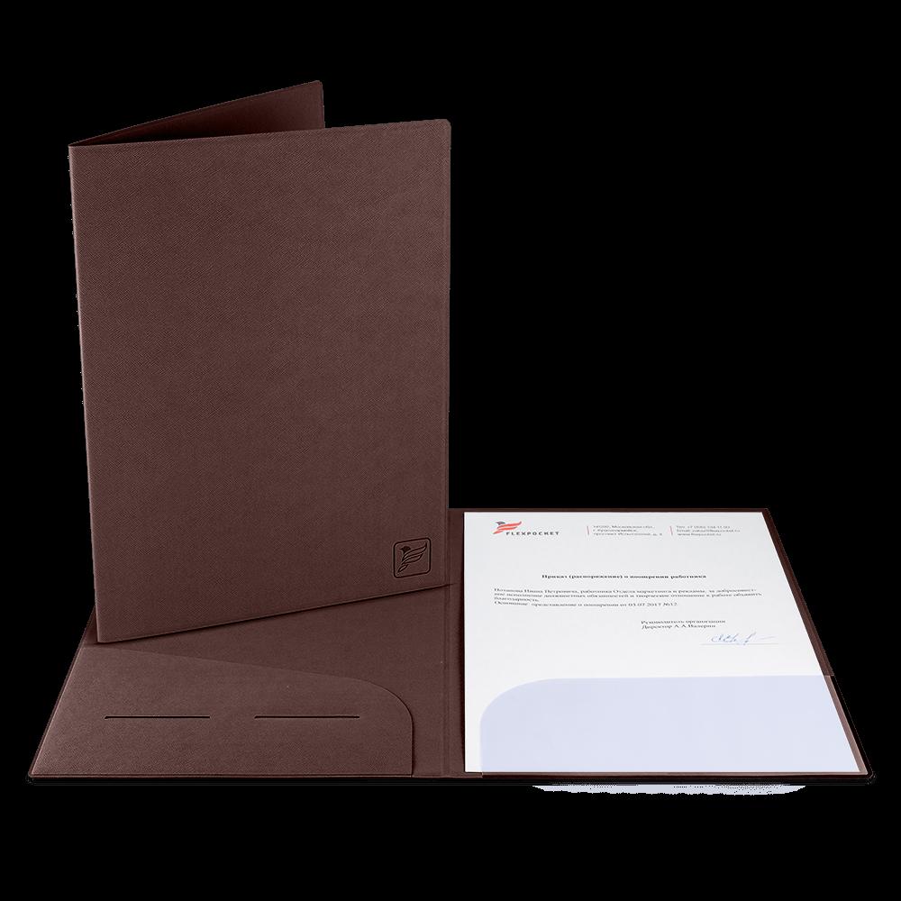 Папка классическая, цвет коричневый