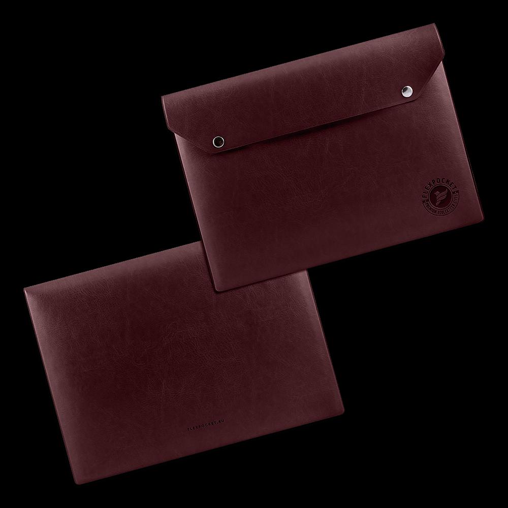 Папка-конверт на двух кнопках, цвет коричневый classic