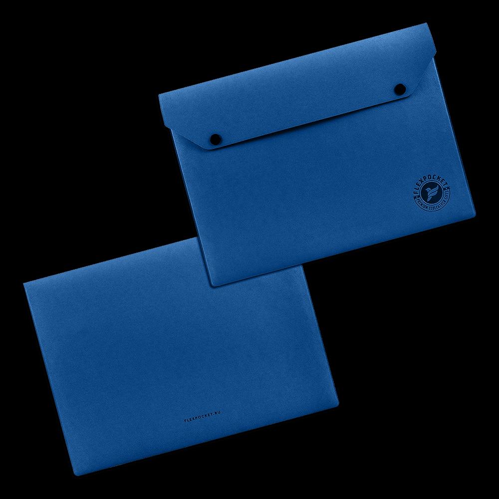 Папка-конверт на двух кнопках, цвет темно-синий
