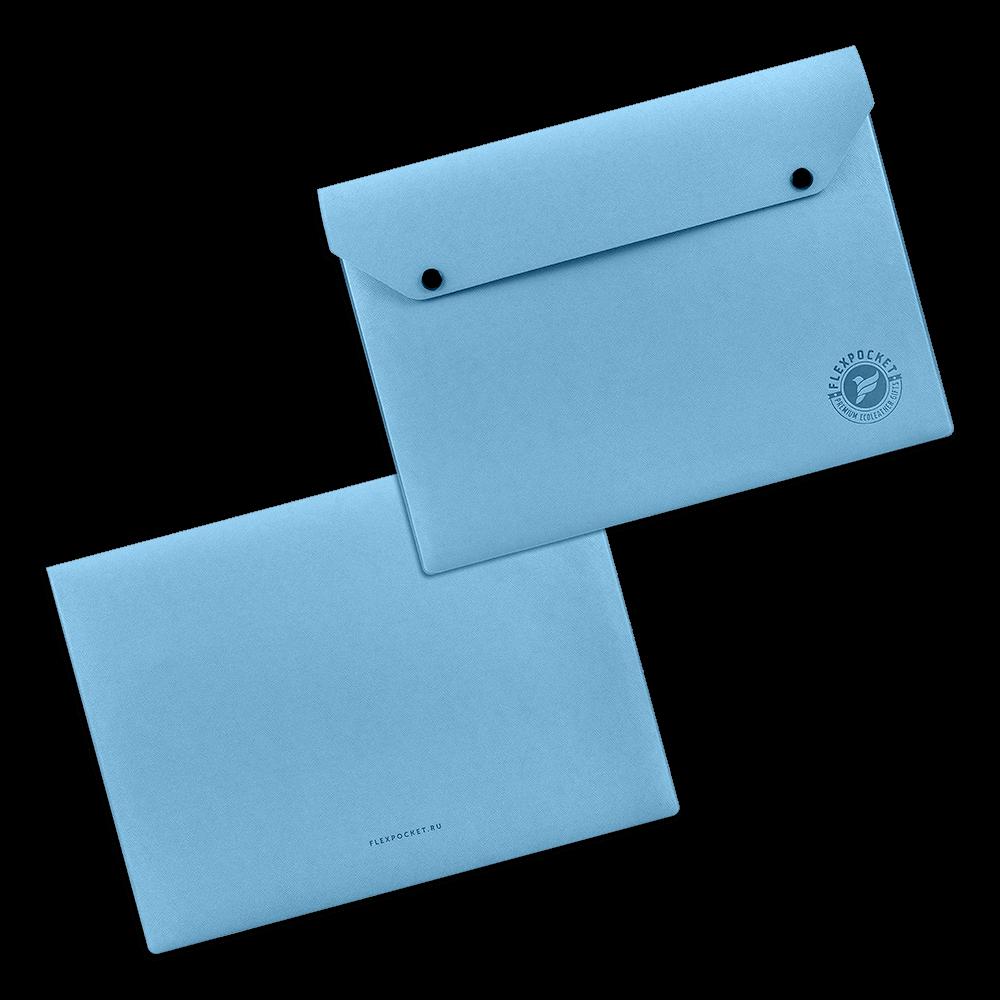 Папка-конверт на двух кнопках, цвет голубой