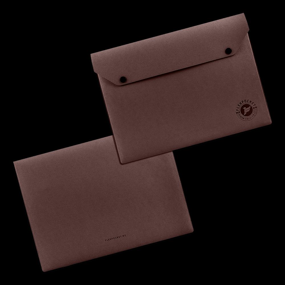 Папка-конверт на двух кнопках, цвет коричневый