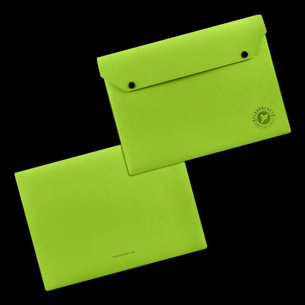 Папка-конверт на двух кнопках, цвет зеленый