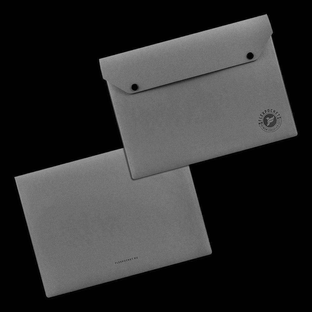 Папка-конверт на двух кнопках, цвет серый
