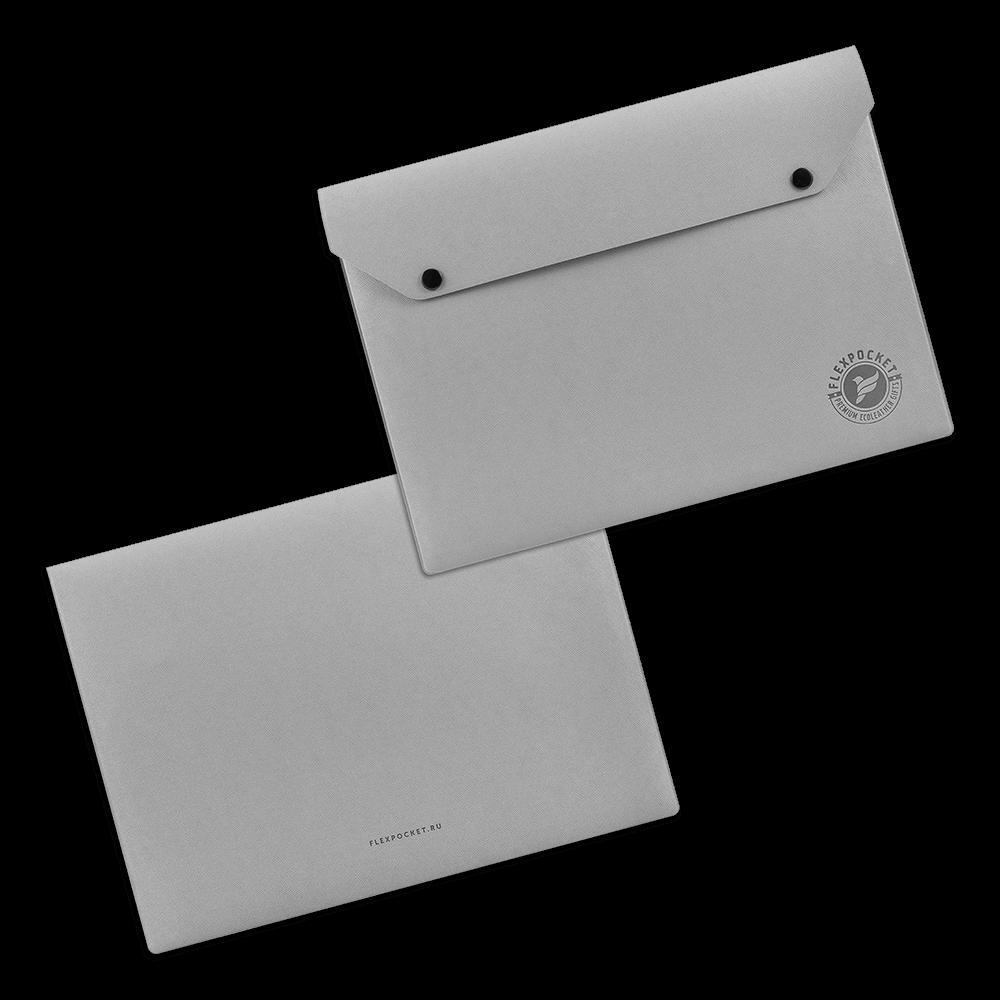 Папка-конверт на двух кнопках, цвет светло-серый