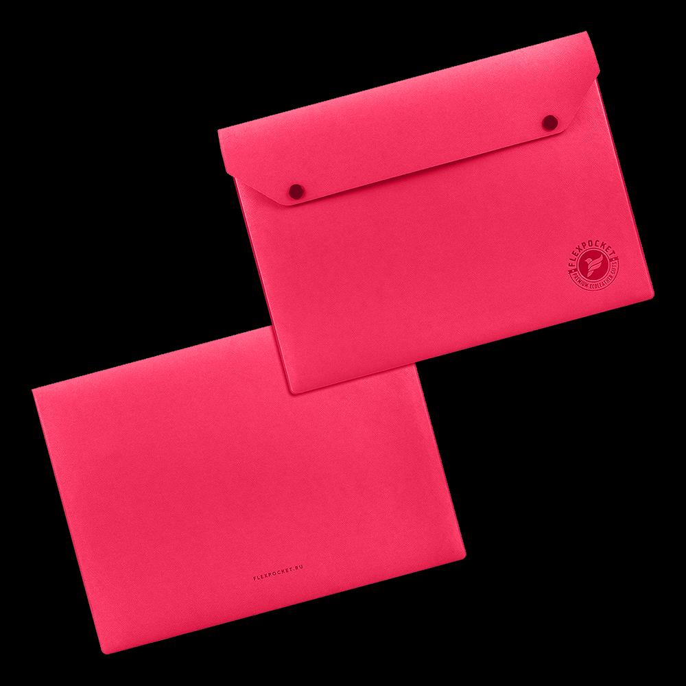 Папка-конверт на двух кнопках, цвет маджента