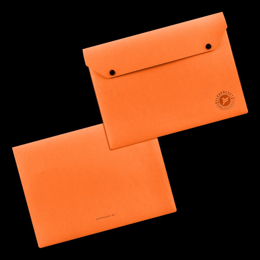 Папка-конверт на двух кнопках, цвет оранжевый