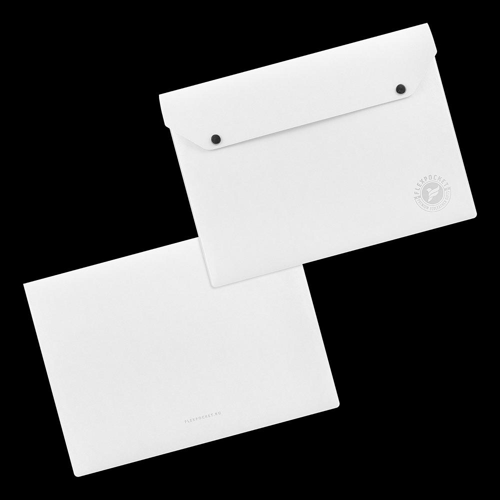 Папка-конверт на двух кнопках, цвет белый