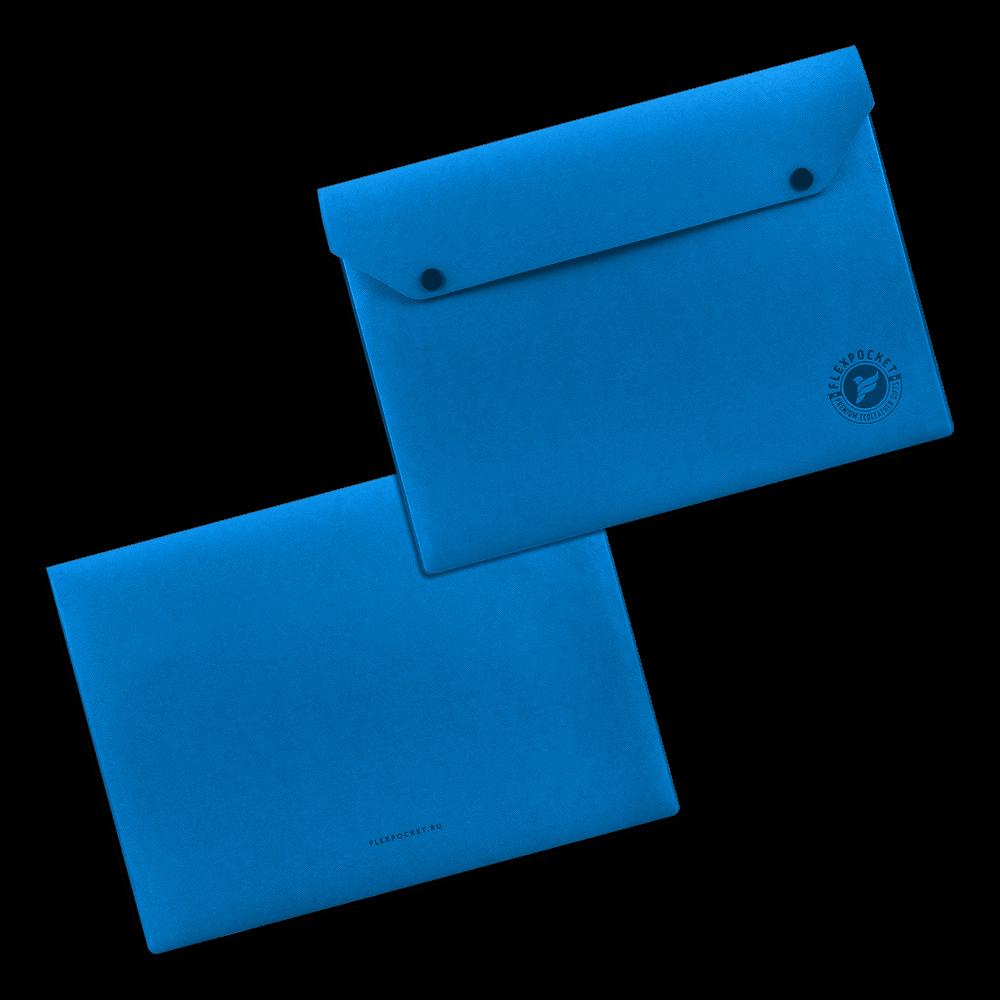 Папка-конверт на двух кнопках, цвет синий