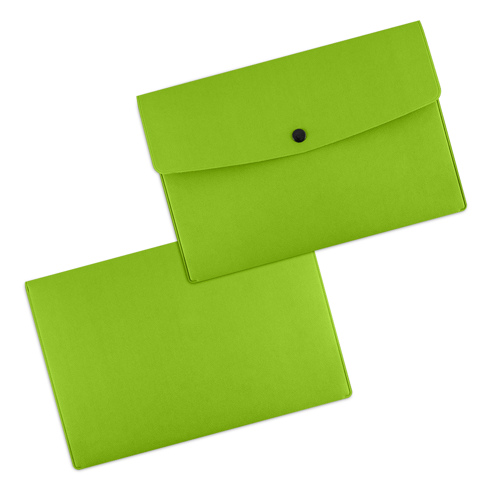Папка-конверт на кнопке, цвет зеленый
