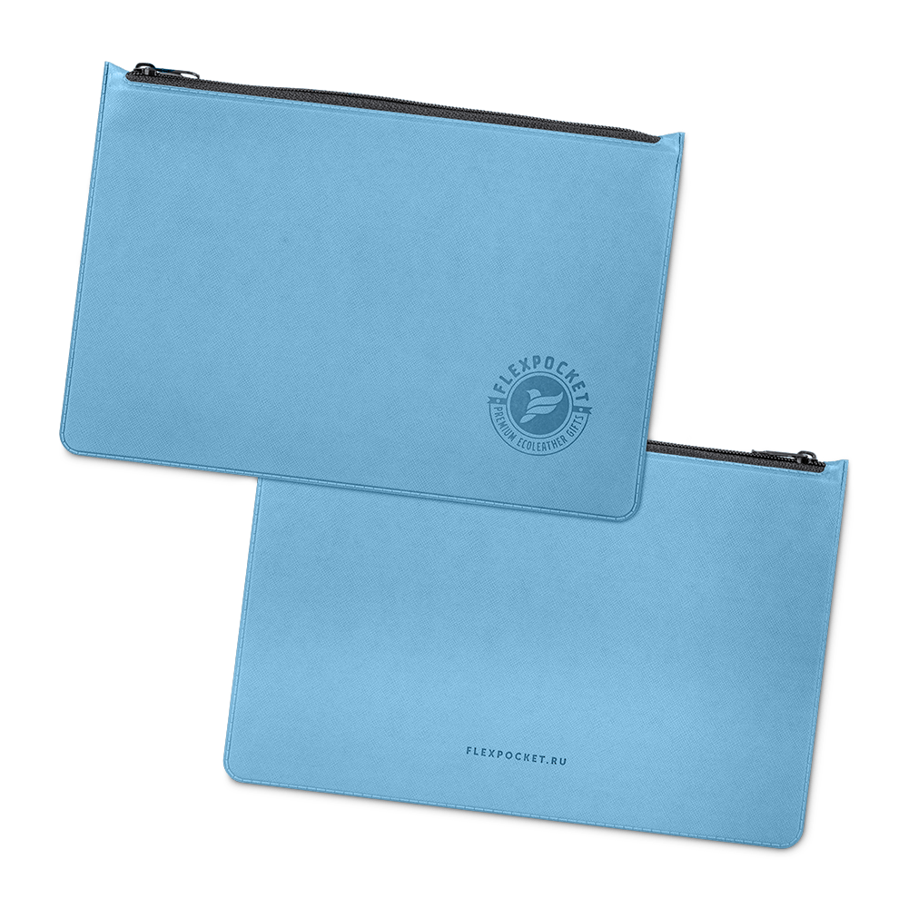Папка на молнии, цвет голубой