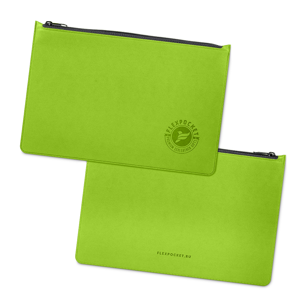 Папка на молнии, цвет зеленый