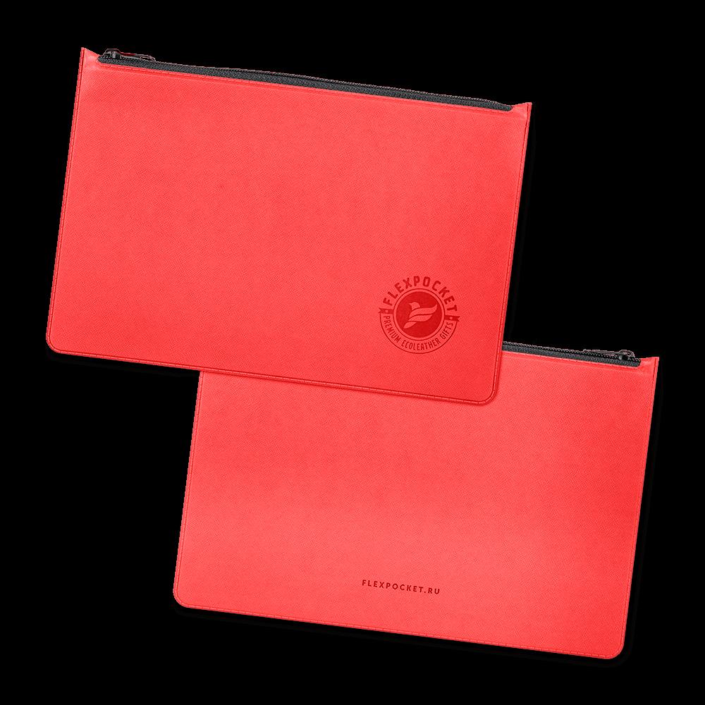 Папка на молнии, цвет красный