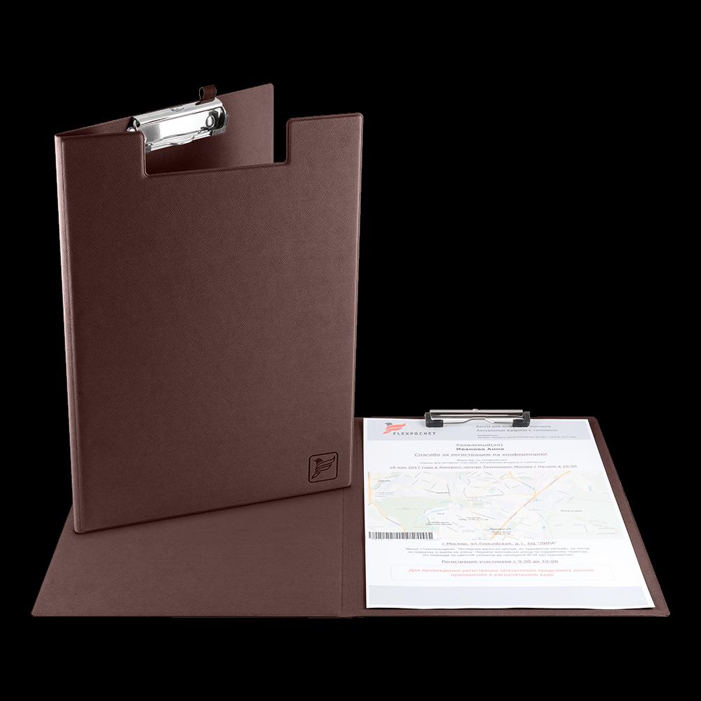 Папка планшет с крышкой, цвет коричневый