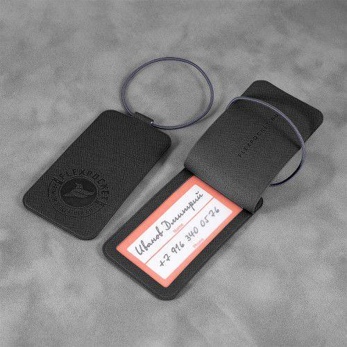 Багажная бирка на резинке, цвет черный