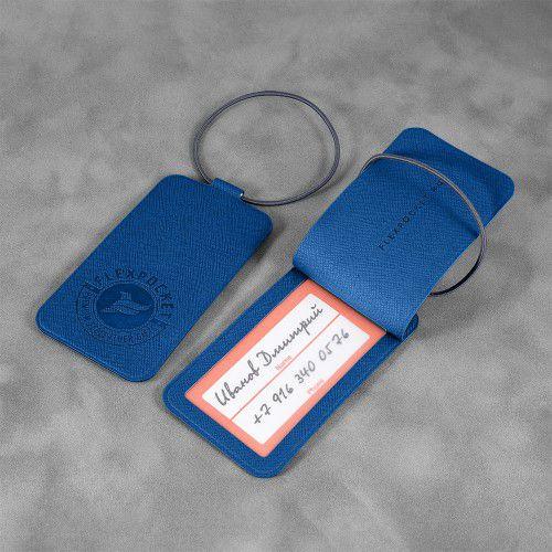 Багажная бирка на резинке, цвет синий