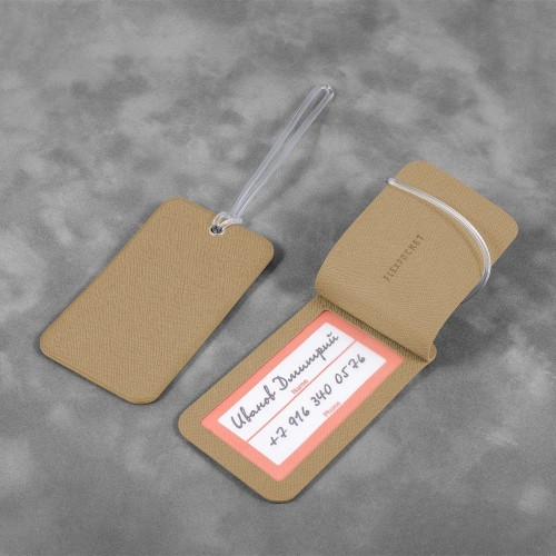 Багажная бирка на виниловой петле, цвет бежевый