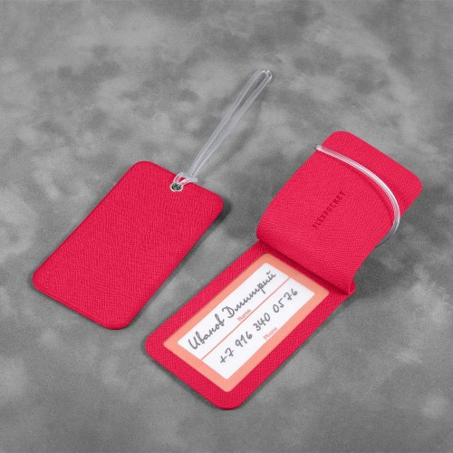 Багажная бирка на виниловой петле, цвет маджента