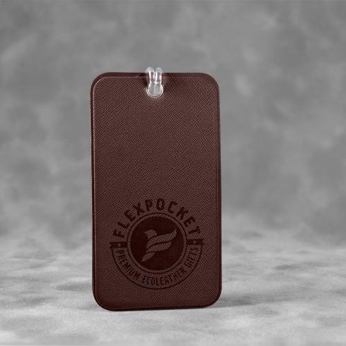Багажная бирка на виниловой петле, цвет коричневый