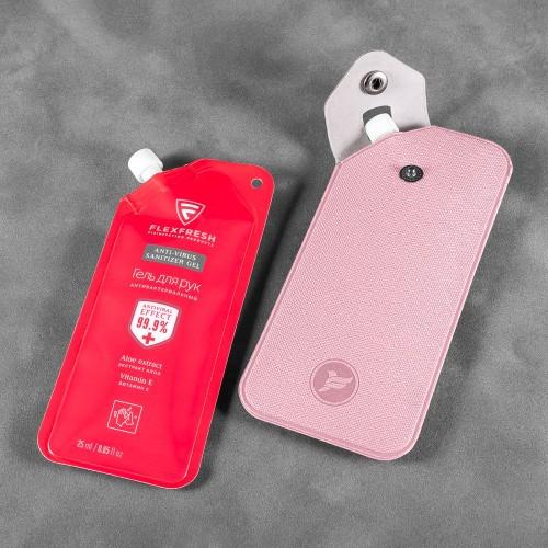 Антисептик-картридж 25мл в чехле из экокожи, цвет розовый