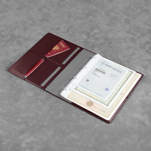 Органайзер для документов A4 на кольцах, цвет коричневый classic