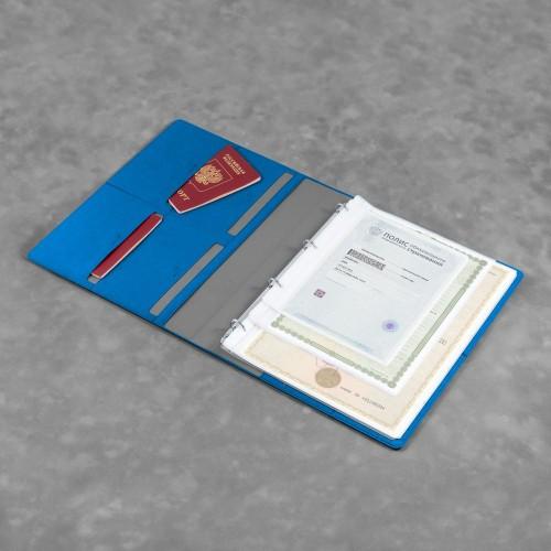 Органайзер для документов A4 на кольцах, цвет синий