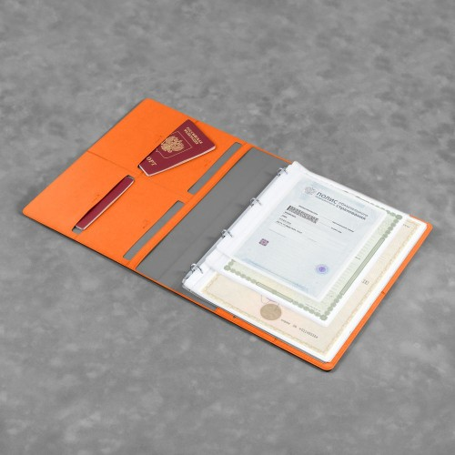 Органайзер для документов A4 на кольцах, цвет оранжевый