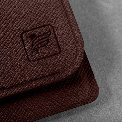Жесткий футляр для трех пластиковых карт, цвет коричневый